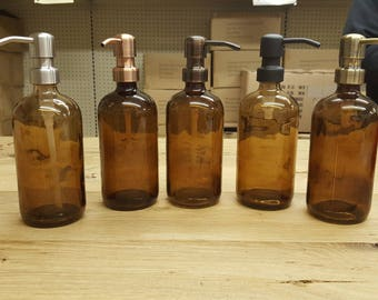 Amber Soap Dispenser - Glass Bottle with Metal Soap Pump