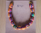 sari fabric bead necklace
