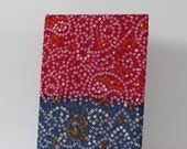 A5 Notebook covered in pink and blue sari fabric