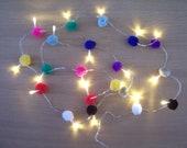 Rainbow Pom pom fairy lights