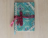 Green Sari Journal - Indian sari notebook -Student -Journal - Gift