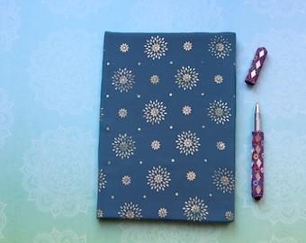Sari fabric notebook journal in blue sari with gold stars