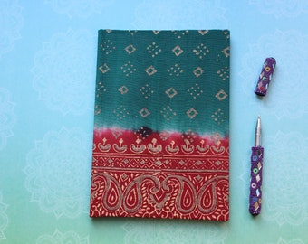 Sari fabric notebook journal in traditional red and green design, Unique Christmas gift