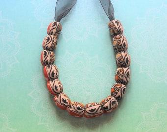 Sari fabric necklace handmade