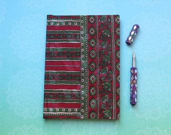 Sari fabric journal in red and green silk sari fabric