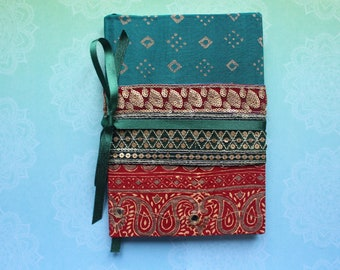 Sari Journal, Sari fabric reused, eco friendly notebook, gift for writers, fabric journal