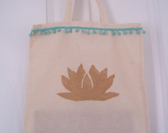 Shopping bag / reusable / gold printed / tote bag / India Inspired / cotton / teal / pom pom / lotus flower / gift for her / Mothers Day