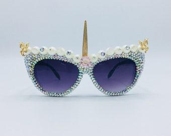 8913fb5327e3 Festival Eyewear Unicorn Sunglasses Party Rave Harajuku Fashion Rhinestone  Bedazzled Glasses