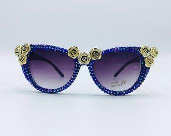 9763cf624ad7 Festival Sunglasses Gold Roses Glasses Party Rave Harajuku Fashion  Rhinestone Bedazzled Eyewear
