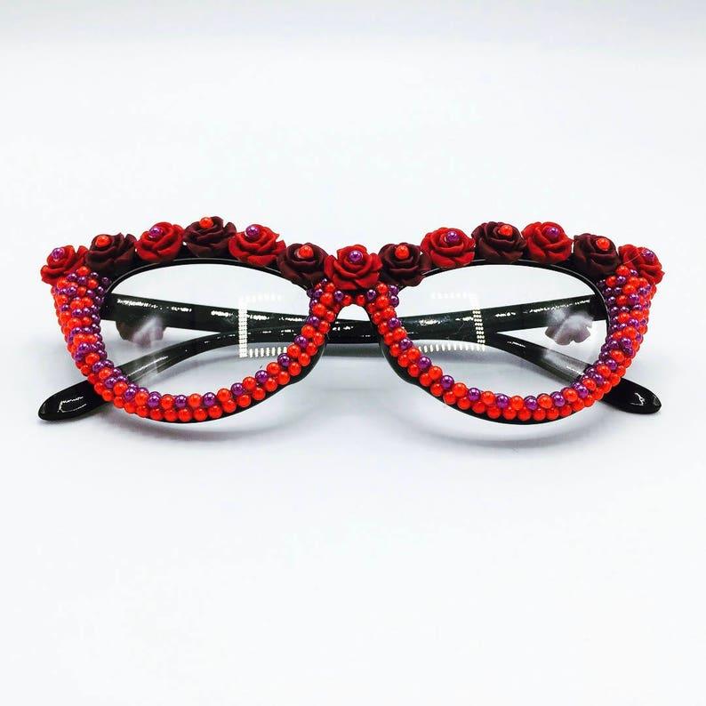 efb8bd43d2e7 Festival Glasses Red Roses Valentines Day Kawaii Harajuku