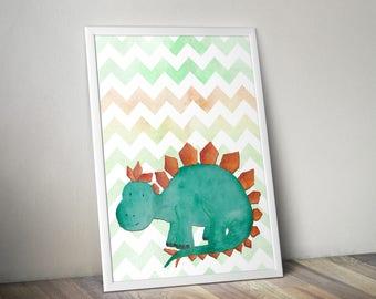 Dinosaur Print ~ Dino ~ Stegosaurus ~ Printable ~ Nursery Wall Art ~ Childrens Wall Art