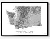 Washington State map, amazing topography printed on high quality photo poster paper, USA, US map Seattle Coffee Nirvana Hendrix Portland