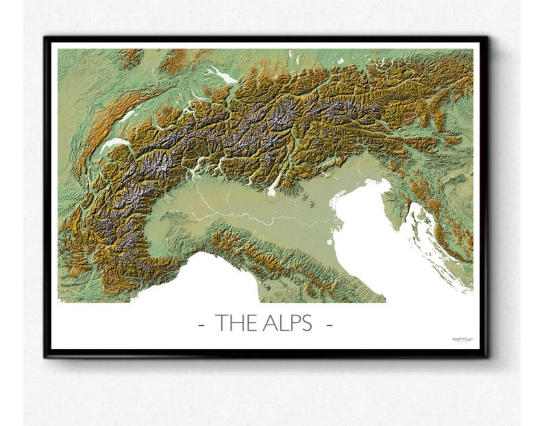 Map of the Alps topography & amazing relief map poster | Etsy