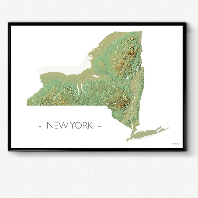 New York topo map, NY state, poster map, MAPHIGH