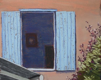 """Original pastel painting """"French Shutters 2"""""""