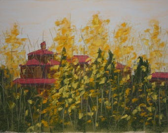 """Original pastel painting, """"Scattered Gold."""""""