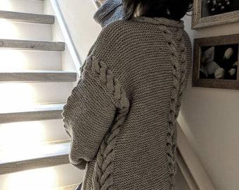 5521ddce78 Hand Stricken Damen Strickjacke, lange Strickjacke, übergroßen Strickjacke,  Mantel, lässige Oversize- Strickjacke aus superweicher Wolle