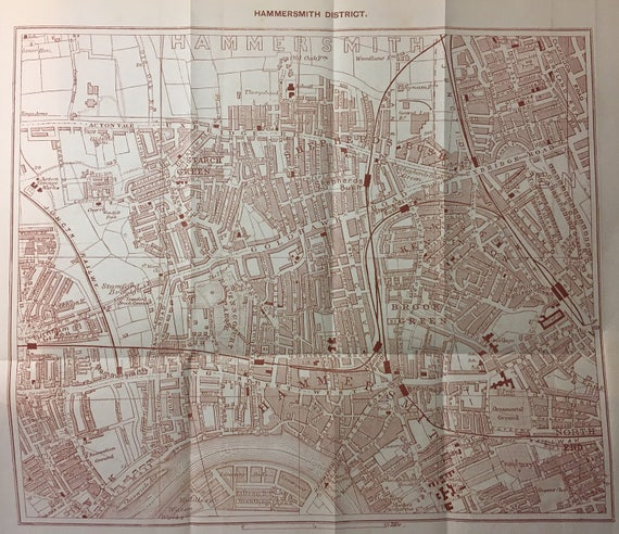 Vintage Map Of London Fulham District And Parsons Green Etsy