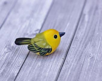 Mangrove Warbler - OOAK Handmade Polymer Clay Cute Yellow American Songbird