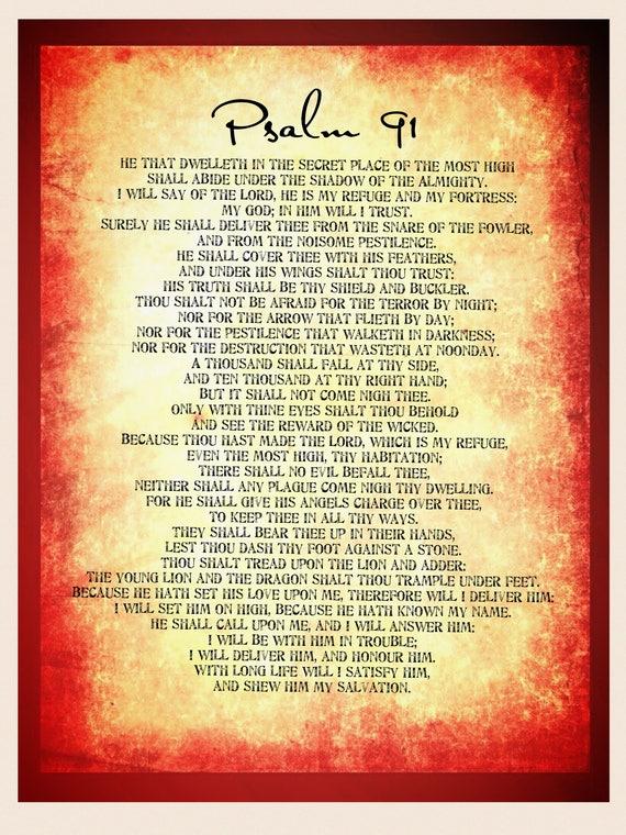 psalm 91 poster. bible wall decal. bible wall art pdf   etsy