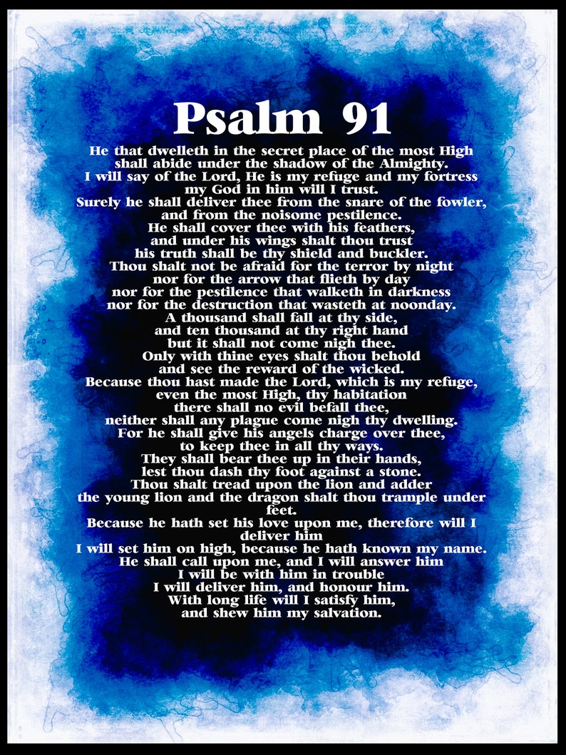 Psalm 91 poster  DIGITAL DOWNLOAD  PRINTABLE A2 psalm 91 poster  Bible  Verse print  Full chapter psalm 91 poster