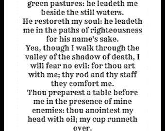 Psalm 23 poster. Bible Art. DIGITAL DOWNLOAD. psalm 23 wall art. psalm 23. Bible Caligraphy wall art. Caligraphy.