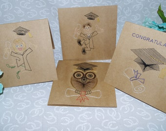 Graduation Hand Stitched Greeting Cards Unique Man, Woman, Owl, Hat