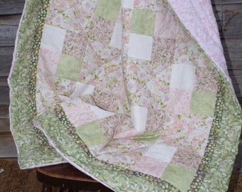 Pink Roses Green Leaves White Modern Patchwork Cotton Baby Toddler Quilt 40 X 45