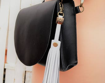 Leather tassel purse charm, Purse tassel, Purse tassel charm, Leather tassel, Leather tassel keychain, Leather key fob, Gift for her
