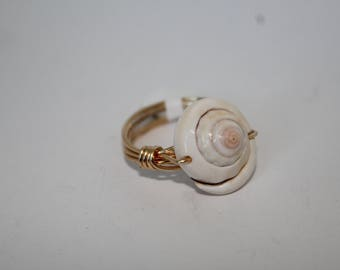 Seashell Gold Wire Wrap Ring