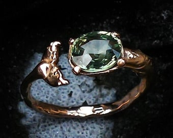 Handmade Solid Gold Whale Ring - nature inspired gold ring - unique engagement ring - sapphire, diamond, morganite, rose gold options
