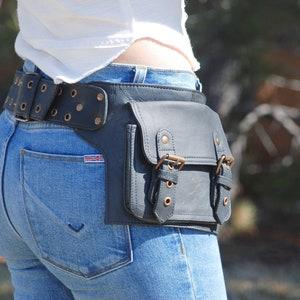 Black leather hip bag for biker or festival-goer or traveller