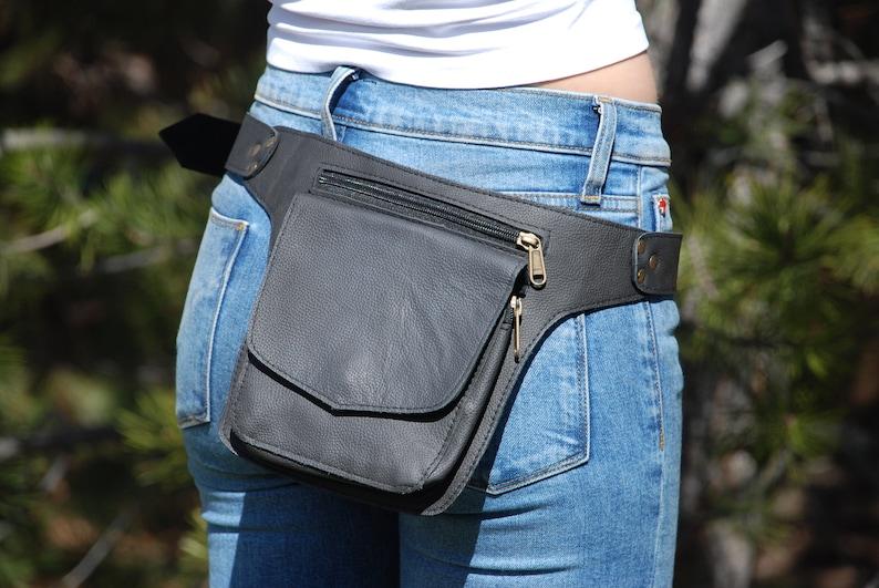 Hip Bag Black Leather Hip Bag Leather Belt Bag Belt Bag Fanny Pack Men Hip Bag Women Belt Bag Men Leather Fanny Pack