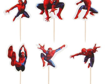 24 pieces spiderman cake cupcake toppers