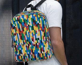 Building Blocks Backpack / College Laptop Backpack / Colorful Backpack / Gift for College Students / Modern Macbook Bag / Commuter Backpack
