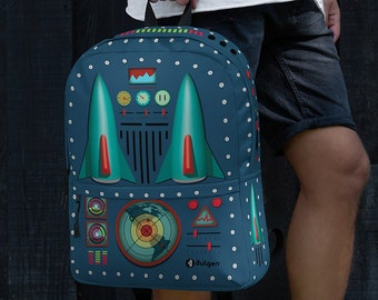Rocket Jet Laptop Backpack / 50s Vintage Tin Toy Style Collectors Backpack / Gift for Students / High School Backpack / Back to School