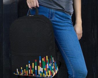 Building Blocks Backpack / Dark Grey College Laptop Backpack / Office Commuter Backpack /  ModernBackpack / Cool gift for Back to School
