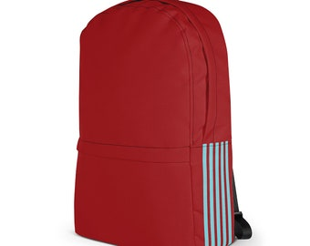 """Commuter Laptop Backpack – Red & Blue / Notebook College Backpack / Unisex Backpack for 13"""" Macbook / College student gift"""