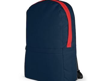 """College Laptop Backpack – Blue Navy & Red / 13"""" Notebook Macbook Backpack / Messenger Knapsack / Hiking Backpack / Gift for men women"""