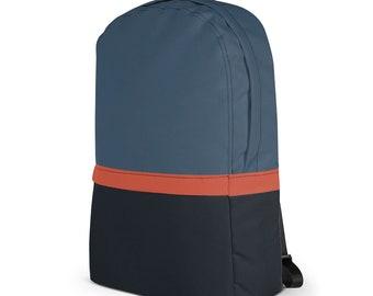 Modern Laptop Backpack –Turquoise Orange Dark Grey / College Backpack / College Backpack for Macbook /  Gift for men & women /  Hiking Bag