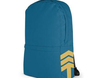 Commuter Laptop Backpack – Blue & Yellow / Macbook Notebook Bag / Modern College Knapsack / Gift for Men Women / Back to School Bag
