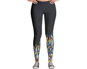 ea3d4c500f089 Building Block Workout Leggings / Dark Grey Women Leggings / Graphic Women  Jogging pants / Breathable Fashion Pants