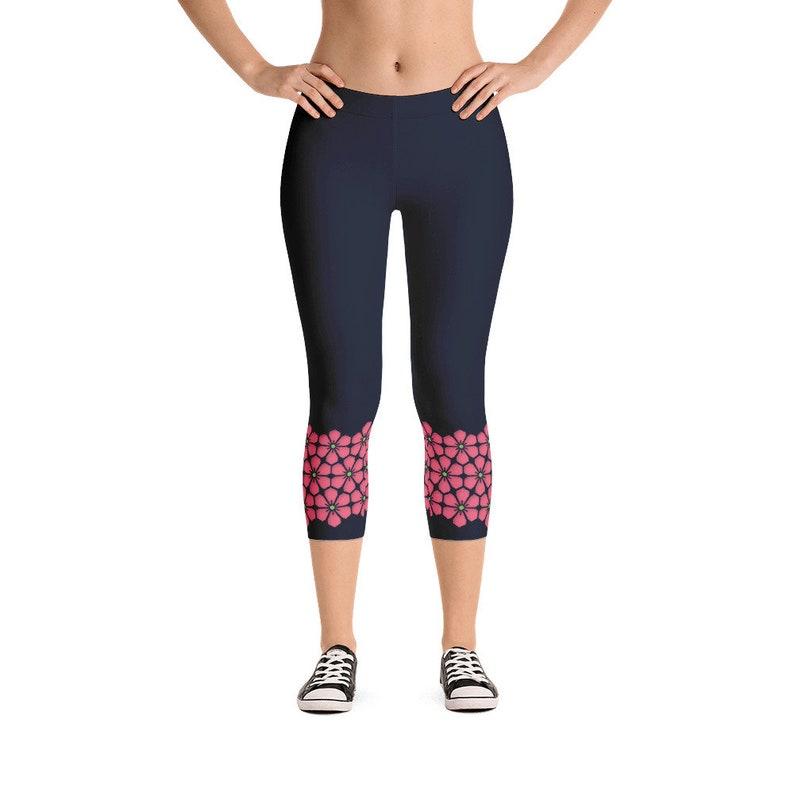 Capri Workout Leggings  Navy Pink / Cherry Blossom Flowers image 0