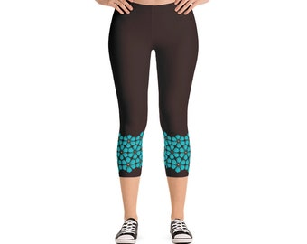 Capri Workout Leggings – Brown Turquoise / Cherry Blossom Flowers Women tights  / Work From Home Pants / Casual Summer Fitness Athletic Wear