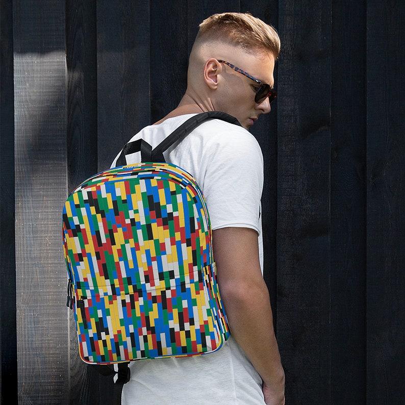 Colorful Building Blocks Backpack / College Backpack / Laptop image 0