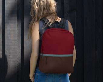 """Commuter Laptop Backpack – Red Blue Brown / 13"""" Notebook Macbook Knapsack / Col lege Backpack / Gift for College Students / Back to School"""