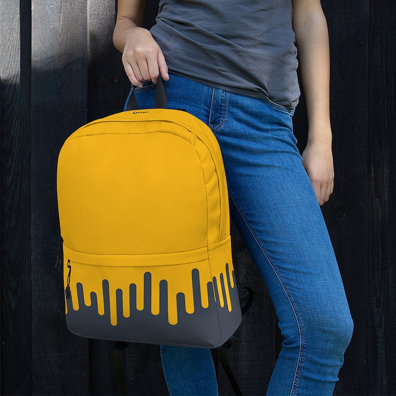 Paint Drip Graphic Backpack  Yellow Grey / College Backpack / image 0