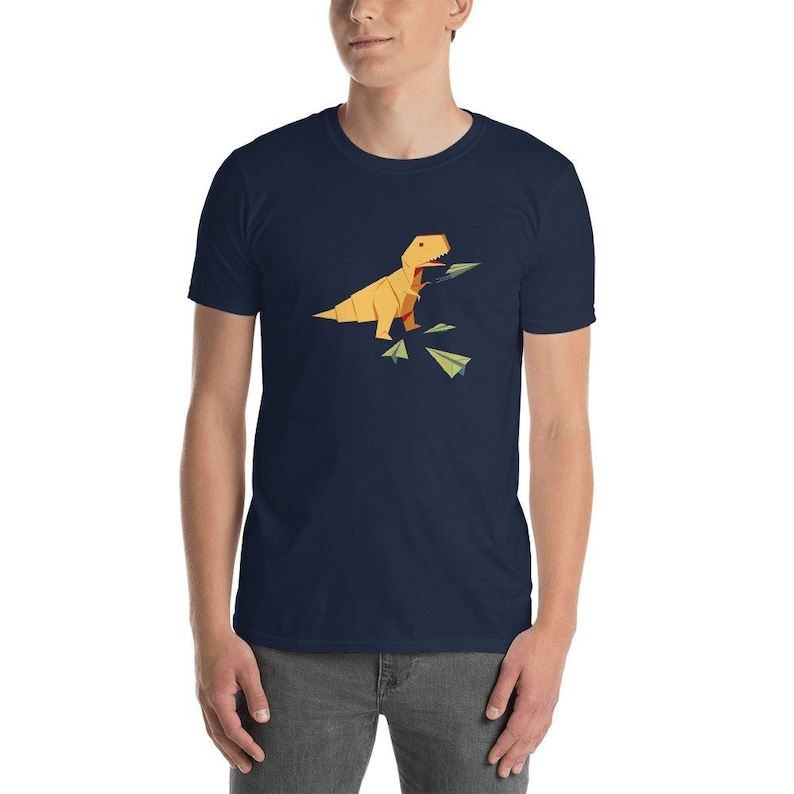 Origami T-Rex Dinosaur Flying Paper Airplane Unisex T-Shirt / image 0