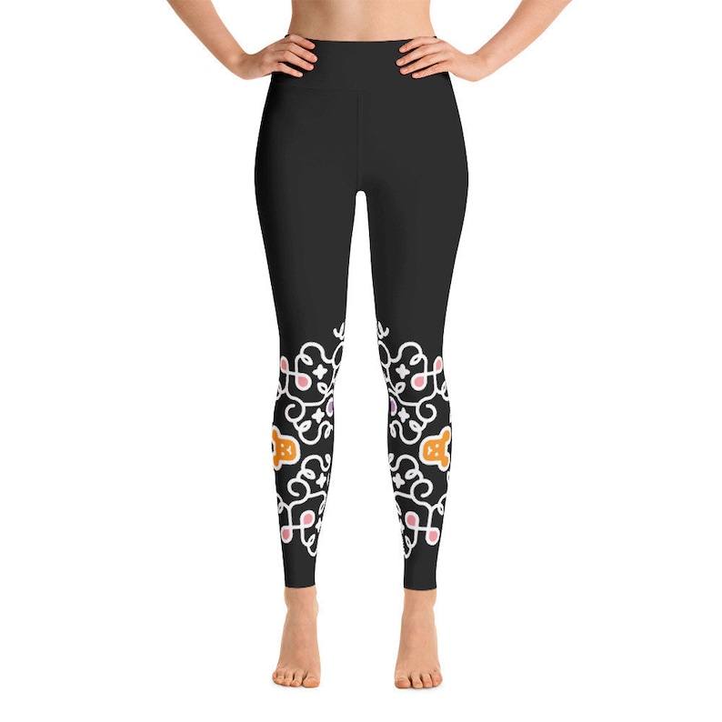 Black Swirl Yoga Leggings / Teddy Bear Flowing Women Yoga image 0