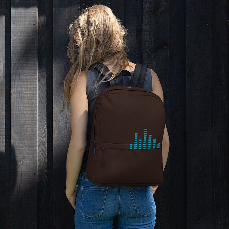 Brown & Blue Equalizer Graphic Backpack / Music Producer image 0